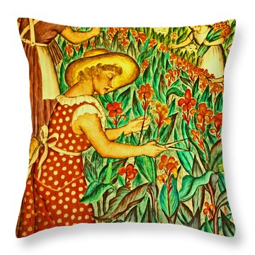 A Flower Harvest Throw Pillow