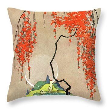 A Flowering Tree Throw Pillow