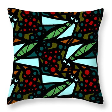 Throw Pillow featuring the digital art A Fly Of Sorts And Berries by Elizabeth McTaggart