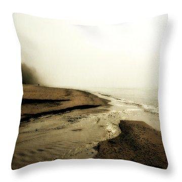A Foggy Day At Pier Cove Beach Throw Pillow by Michelle Calkins