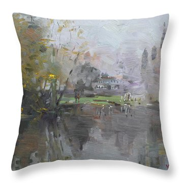 A Foggy Fall Day By The Pond  Throw Pillow