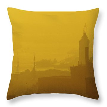 A Foggy Golden Sunset In Honolulu Harbor Throw Pillow