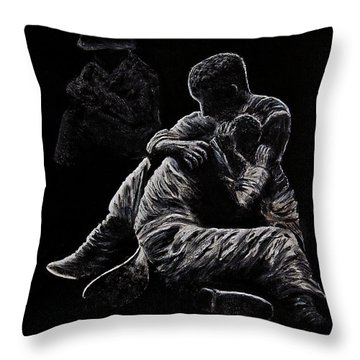 Throw Pillow featuring the painting My Friend Killed In Korean War by Bob Johnston
