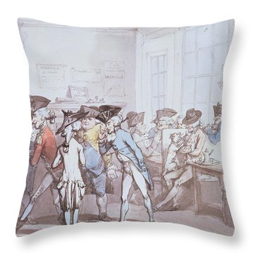 A French Coffee House Throw Pillow by Thomas Rowlandson