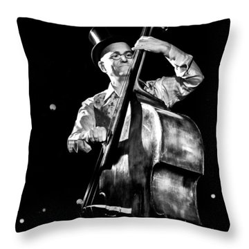 Throw Pillow featuring the photograph A French Contrabass Player by Stwayne Keubrick
