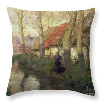 A French River Landscape With A Woman By Cottages Throw Pillow by Fritz Thaulow