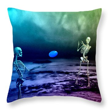 A Friendly Game Of Frisbee Throw Pillow by Tyler Robbins