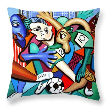 A Friendly Game Of Soccer Throw Pillow