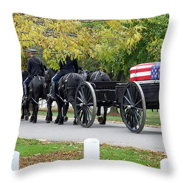Throw Pillow featuring the photograph A Funeral In Arlington by Cora Wandel