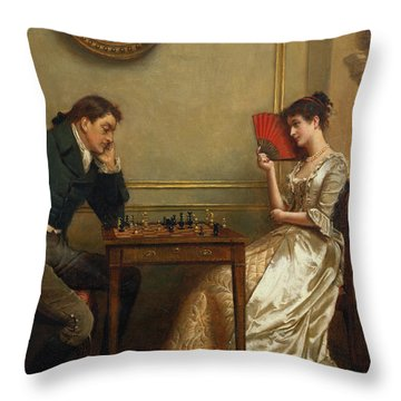 A Game Of Chess Throw Pillow by George Goodwin Kilburne