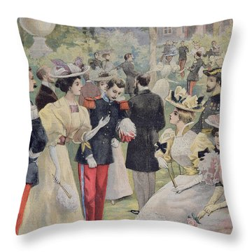 A Garden Party At The Elysee Throw Pillow by Fortune Louis Meaulle