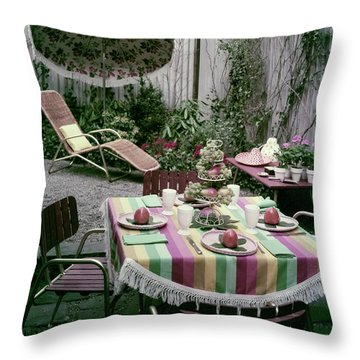 A Garden Set Up For Lunch Throw Pillow