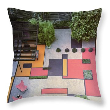 A Garden With Colourful Landscaping In Dr Throw Pillow