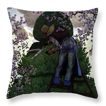 A Gardener Pruning A Tree Throw Pillow