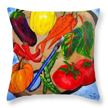 A Gardeners Palette Throw Pillow