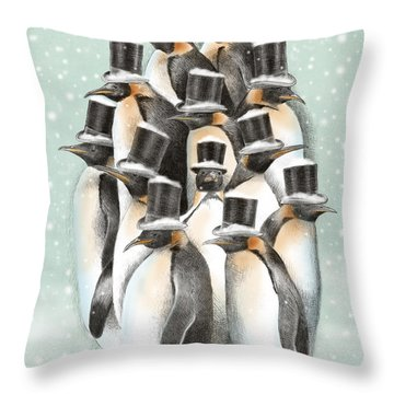 A Gathering In The Snow Throw Pillow