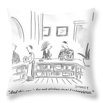 A General Explains His Medals To The Woman Seated Throw Pillow