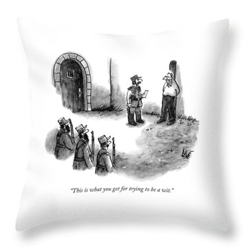 A General Scolds The Target Of A Firing Squad Throw Pillow
