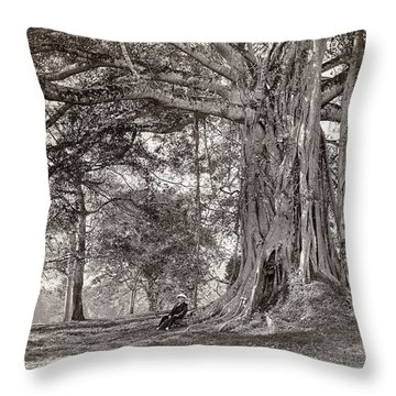 A Gentleman Sitting Beneath A Large Native Tree In British Ceylon Throw Pillow by Scowen and Co