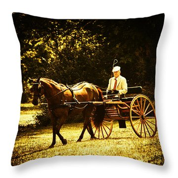 A Gentlemans Ride Throw Pillow by Karol Livote