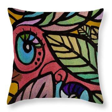 A Girl And Her Bird Throw Pillow