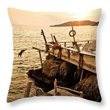 A Girl Jumps Off A Wooden Dock Throw Pillow