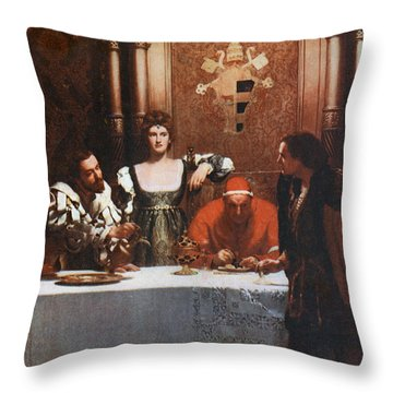 A Glass Of Wine With Caesar Borgia Throw Pillow by Philip Ralley