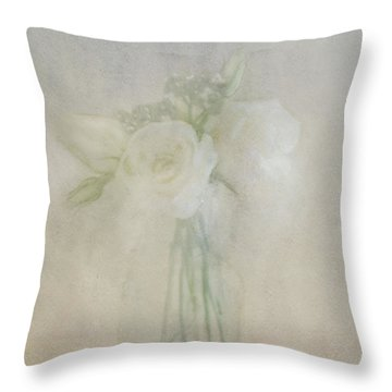 Throw Pillow featuring the photograph A Glimpse Of Roses by Annie Snel