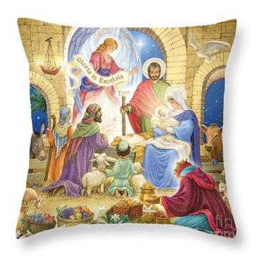 A Glorious Nativity Throw Pillow