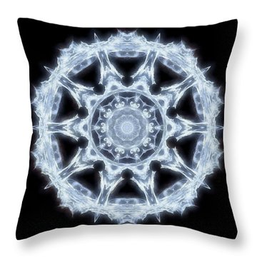 Throw Pillow featuring the digital art A Glowing Winter Snowflake by Mario Carini