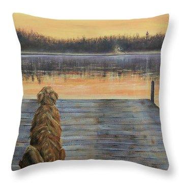 A Golden Moment Throw Pillow by Susan DeLain