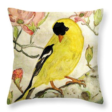A Goldfinch Spring Throw Pillow
