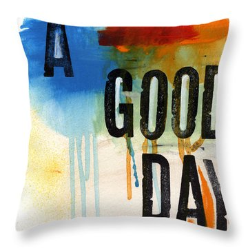 A Good Day- Abstract Painting  Throw Pillow by Linda Woods
