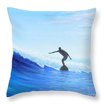 Throw Pillow featuring the painting A Good Day by Mary Scott