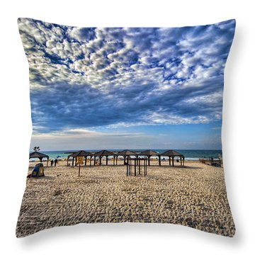 Throw Pillow featuring the photograph a good morning from Jerusalem beach  by Ron Shoshani