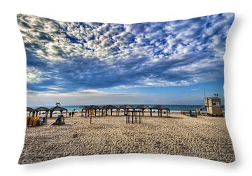 a good morning from Jerusalem beach  Throw Pillow by Ron Shoshani