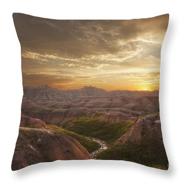 A Good Sunrise In The Badlands Throw Pillow