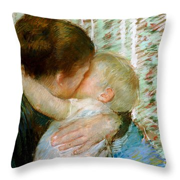 A Goodnight Hug  Throw Pillow by Mary Stevenson Cassatt