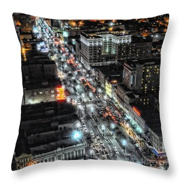 A Gothic Night In New Orleans On Canal Street Throw Pillow by Kathleen K Parker