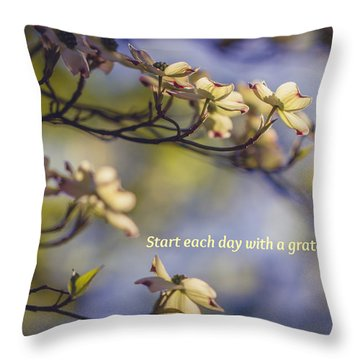 A Grateful Heart Throw Pillow by Sara Frank