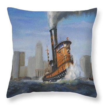 A Great Day For Tugs Throw Pillow by Christopher Jenkins