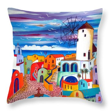 A Greek Mill And The Colors Of Oia Santorini  Throw Pillow