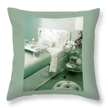 A Green Bedroom With A Breakfast Tray On The Bed Throw Pillow