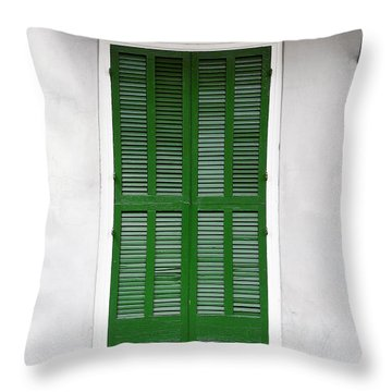 A Green Door In New Orleans Throw Pillow by Christine Till