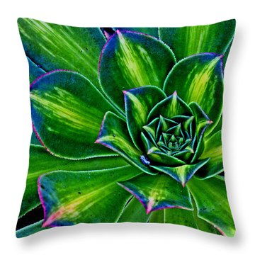 A Green Theme Throw Pillow by Larry Nieland