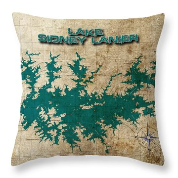 Vintage Map Print Lake Sidney Lanier Georgia Throw Pillow by Greg Sharpe