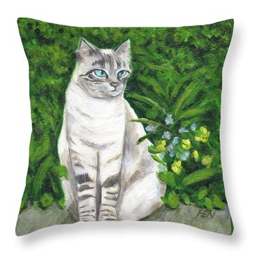 A Grey Cat At A Garden Throw Pillow