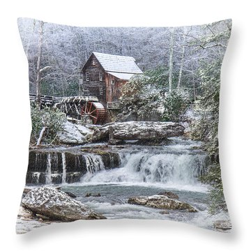 A Gristmill Christmas Throw Pillow by Mary Almond