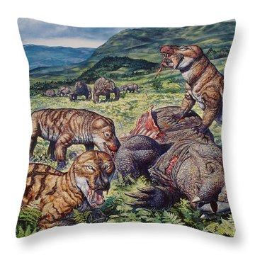 A Group Of Carnivorous Cynognathus Prey Throw Pillow