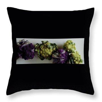 A Group Of Cauliflower Heads Throw Pillow
